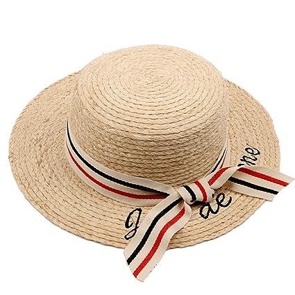 Sombreros Chunlan Sra. Bordado de Letra Copa Plana pequeño Paja Plegable  Vacaciones de Verano Mar 5223a28617e