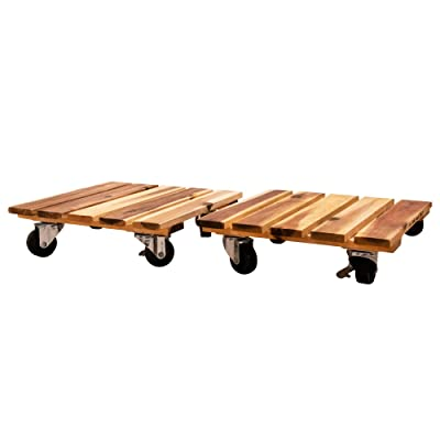 Villa Acacia Wood Plant Caddy, 2 Pack Set with Commercial Grade Wheels, 11 x 11 Inch Dolly: Home Improvement