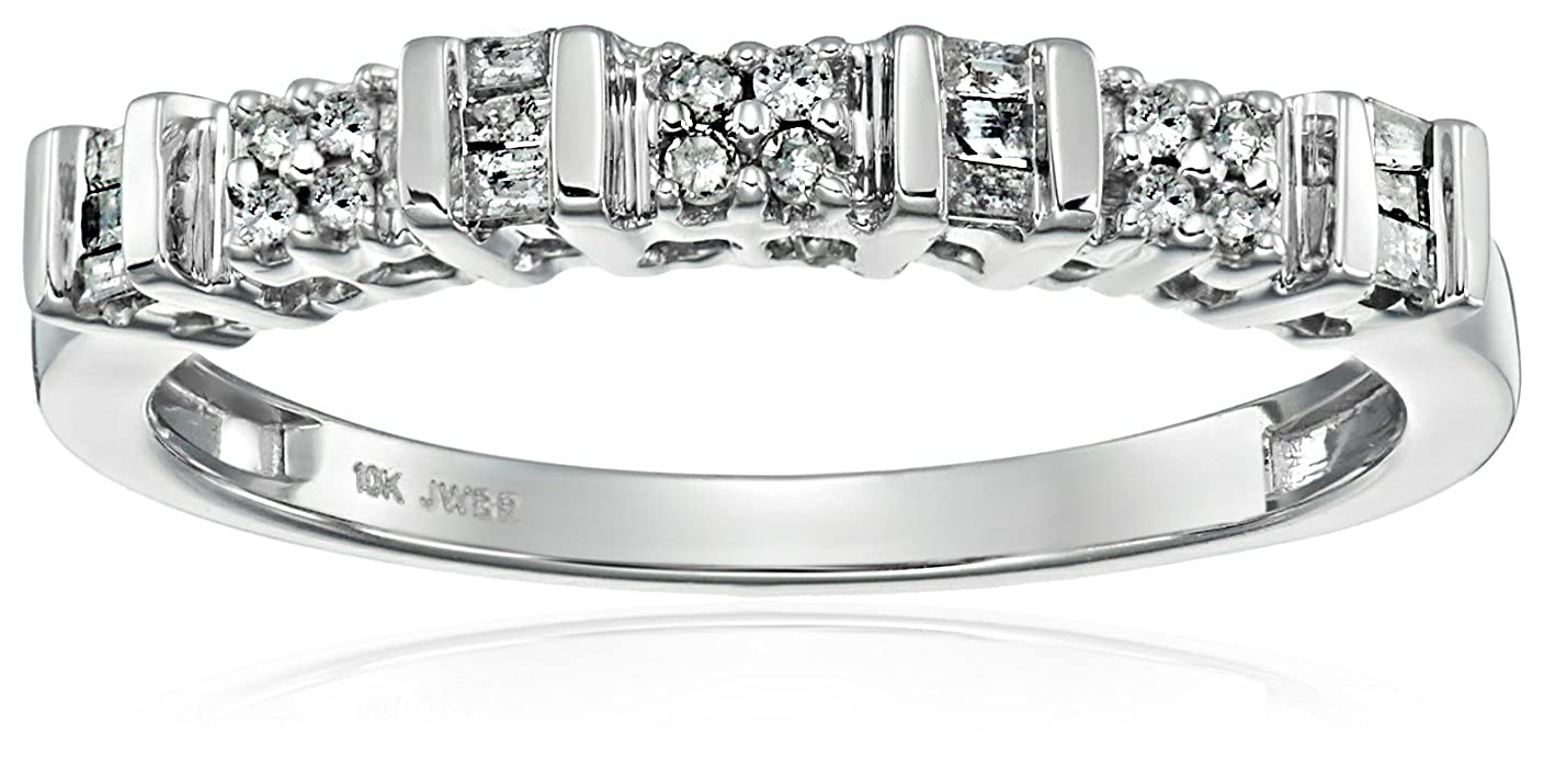 10k White Gold Diamond Anniversary Ring (1/6 cttw, I-J Color, I2-I3 Clarity) Verigold Jewelry 23899/10W/HR/US-Parent