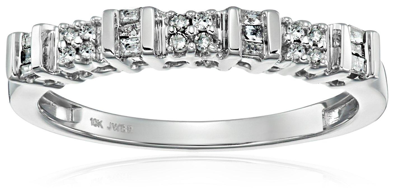 10K White Gold Diamond Anniversary Ring (1/6 cttw), Size 8