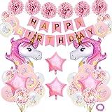 AYUQI Unicornio Decoración de cumpleaños para niña, Rosa Feliz cumpleaños Conjunto de pancartas Unicornio Papel de Aluminio Globo Látex Confeti Fiesta en Globo Decoración Chica Novia