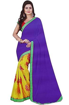 1cb0a53b01 Latest Fashion Saree Georgette Sari with Blouse Elegant Women Ethnic Wear  Sari: Amazon.co.uk: Clothing