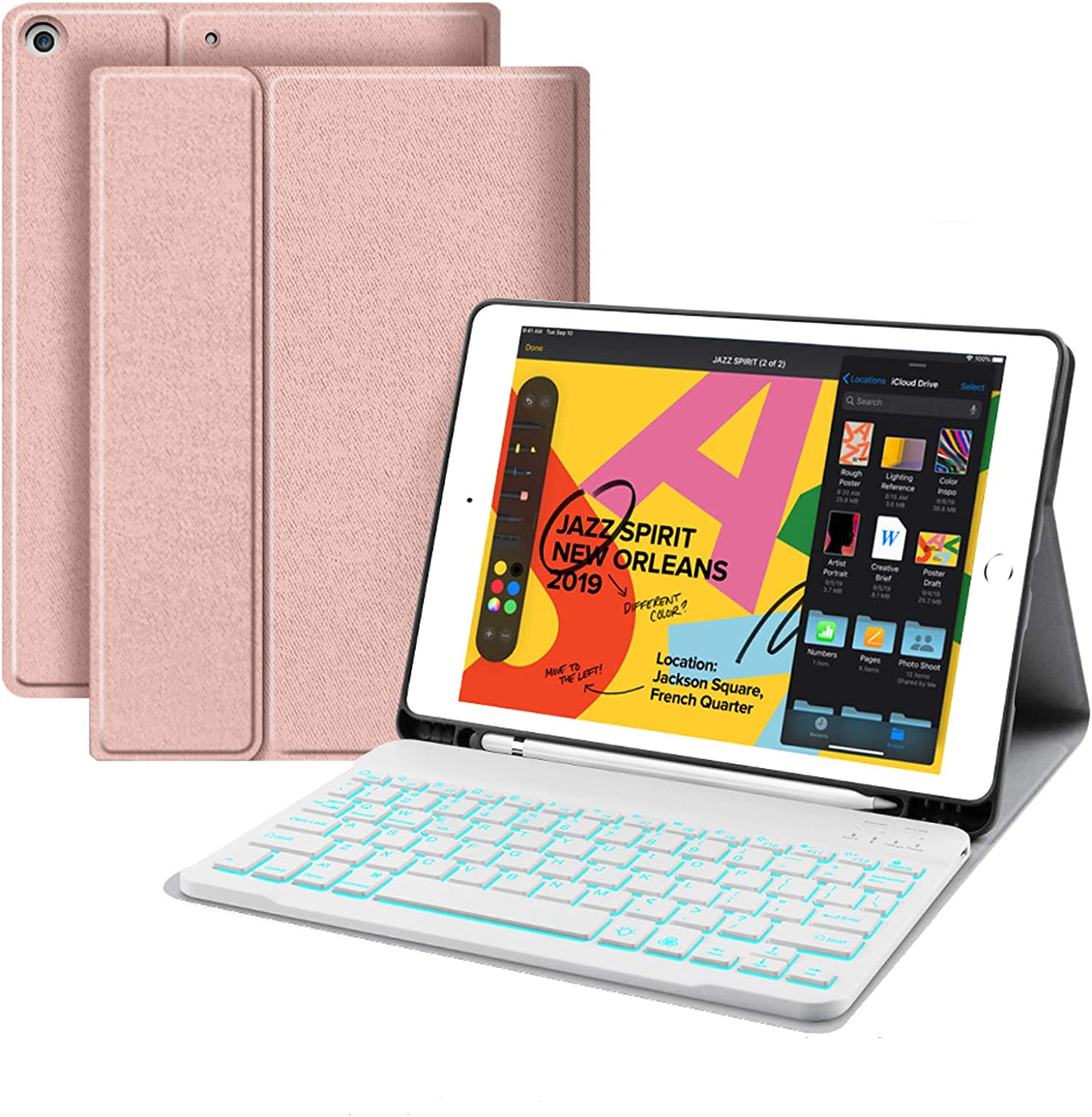 """Backlit Keyboard Case for iPad 10.2 8th 7th Generation - JUQITECH Case with BT Keyboard for iPad 10.2"""" 8th 2020 7th 2019 Wireless Tablet Detachable Keyboard Stand Cover with Pencil Holder, Rose Gold"""