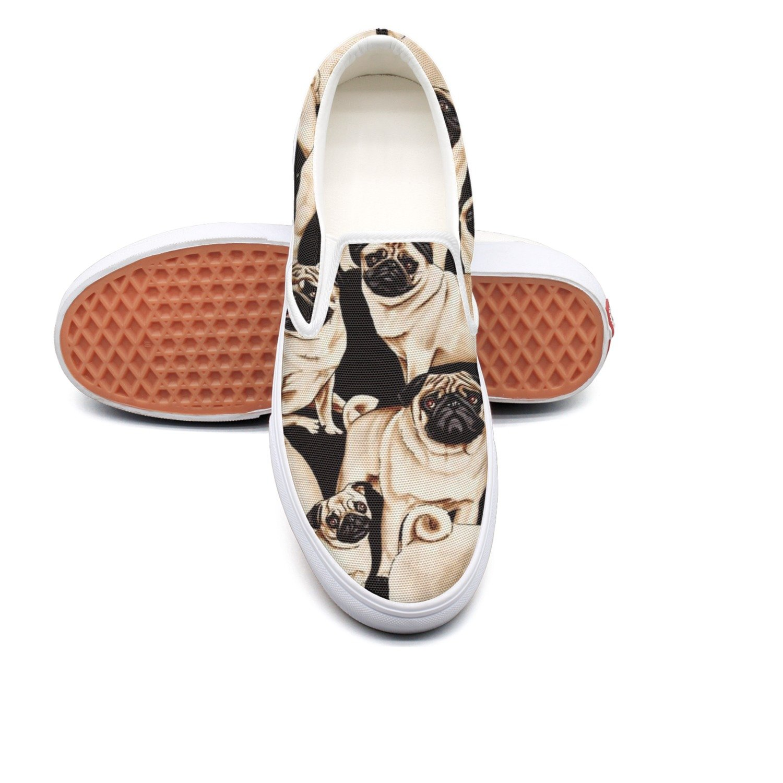 VCERTHDF Pugs Dogs Bulldog Puppy Life Classic Slip-On Shoe Man White
