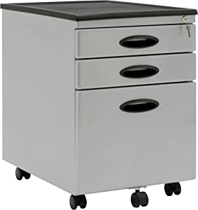 Calico Designs Metal Full Extension, Locking, 3-Drawer Mobile File Cabinet Assembled (Except Casters) for Legal or Letter Files with Supply Organizer Tray in Silver