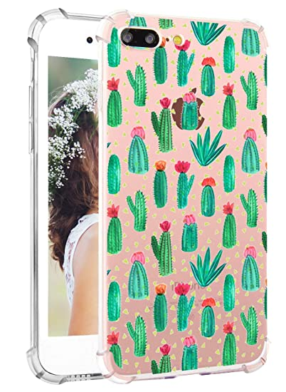 separation shoes a6c37 62694 Hepix Cactus iPhone 8 Plus Case Cute Cacti iPhone 7 Plus Case, Clear Soft  Flexible TPU Protective Bumper Back Case Shock Absorption for iPhone 7 Plus  ...