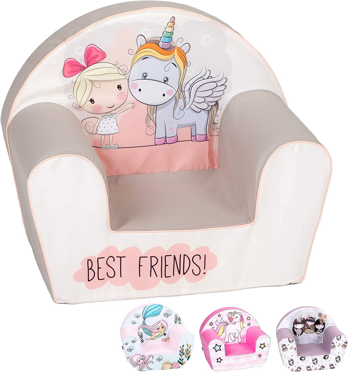 DELSIT Toddler Chair & Kids Armchair - European Made Premium Quality - Perfect Reading Chair for Kids - Lightweight Playroom Decor (Magical Unicorn)