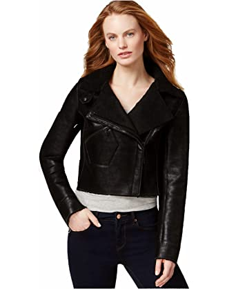 8c189b394941 Image Unavailable. Image not available for. Color: Calvin Klein Women Faux- Shearling Cropped Moto Jacket ...