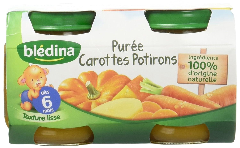 Blédina Petits Pots Purée Carottes Potirons dès 6 mois 2 x 130 g - Lot de 6 3041091085184 bébé légume petit pot