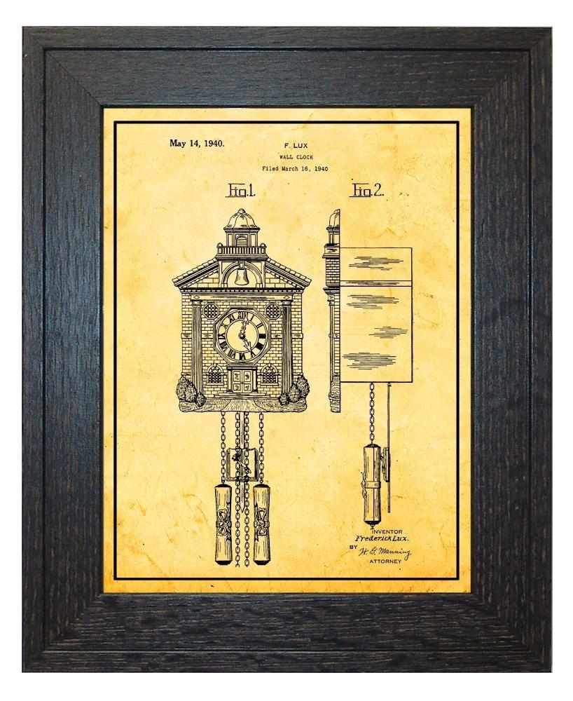 Amazon.com: Wall Clock Patent Art White Matte Print with a Border in ...