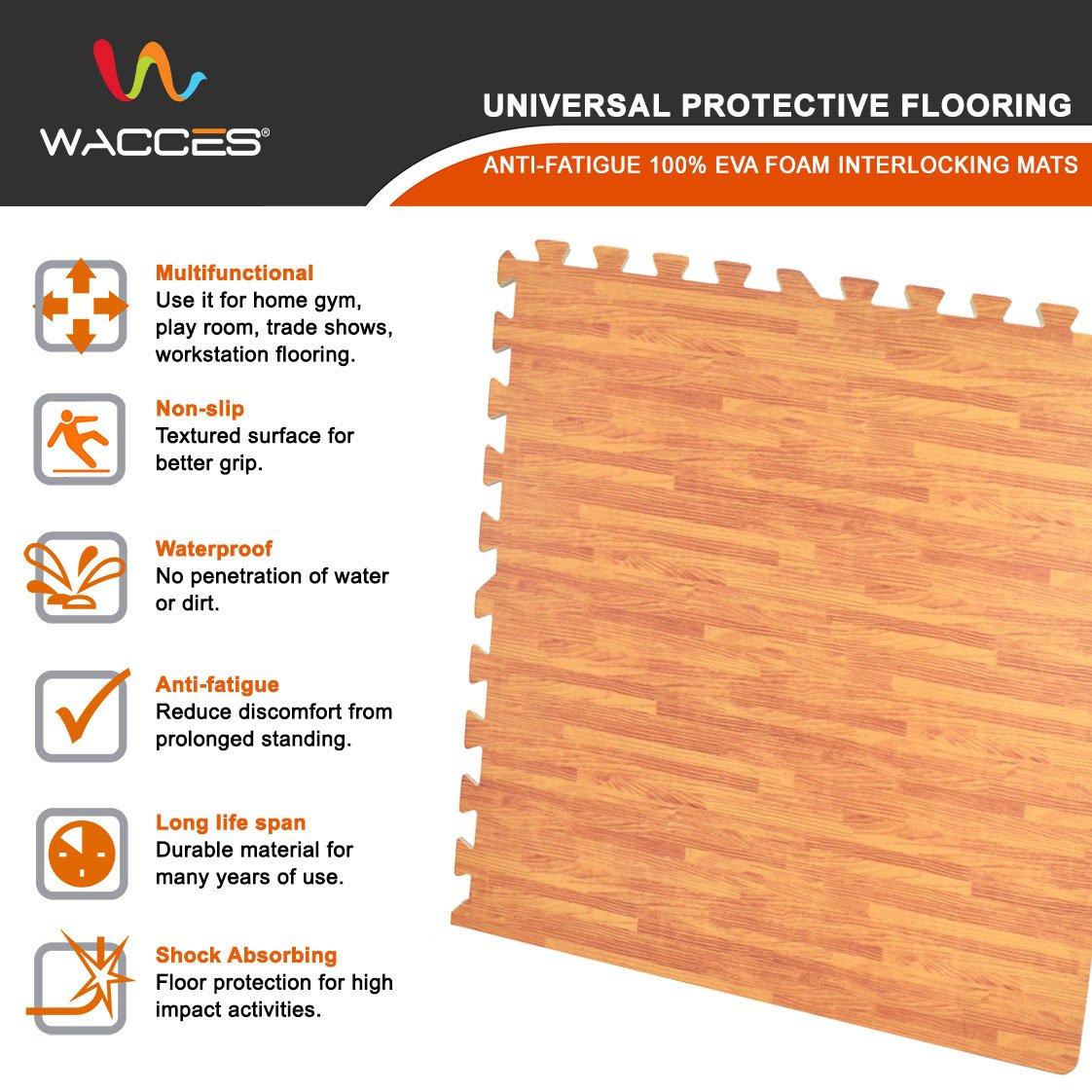 24 SQ FT Wacces 24 x 24 inch Multi-Purpose Puzzle EVA Floor Interlocking Foam Exercise Mat Tiles