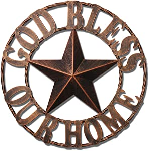 WIPHANY Texas Metal Barn Star Vintage Country Western Home Decor God Bless Our Home The Lone Star 1836