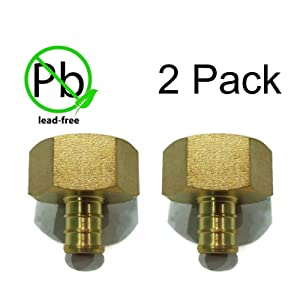 "(2) New 1/2"" x 3/4"" PEX Brass Female NPT Threaded ADAPTERS Water Line Connector by The ROP Shop"
