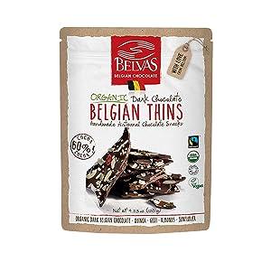 Belvas Belgian Thins Organic Dark Chocolate Snack with 60% Cocoa, Quinoa and Goji - Vegan, Gluten Free, Fairtrade, 4.23 oz. Resealable Bag