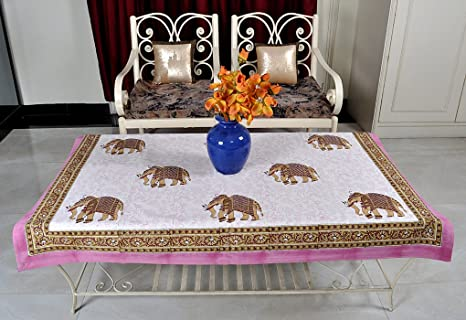 Lal Haveli Cotton Fabric Dining Table Decorations Tablecloth Table Cover 40 X 60 inch Table Cloths