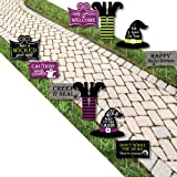 Happy Halloween - Witch Lawn Decorations - Outdoor Halloween Yard Decorations - 10 Piece