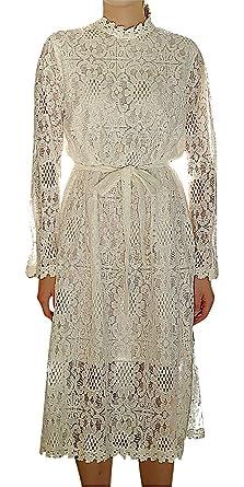 fe8cf98a11bda Hibukk Women White Full Sleeve High Neck Lace Belted Midi Maternity Dress,  White XXS,