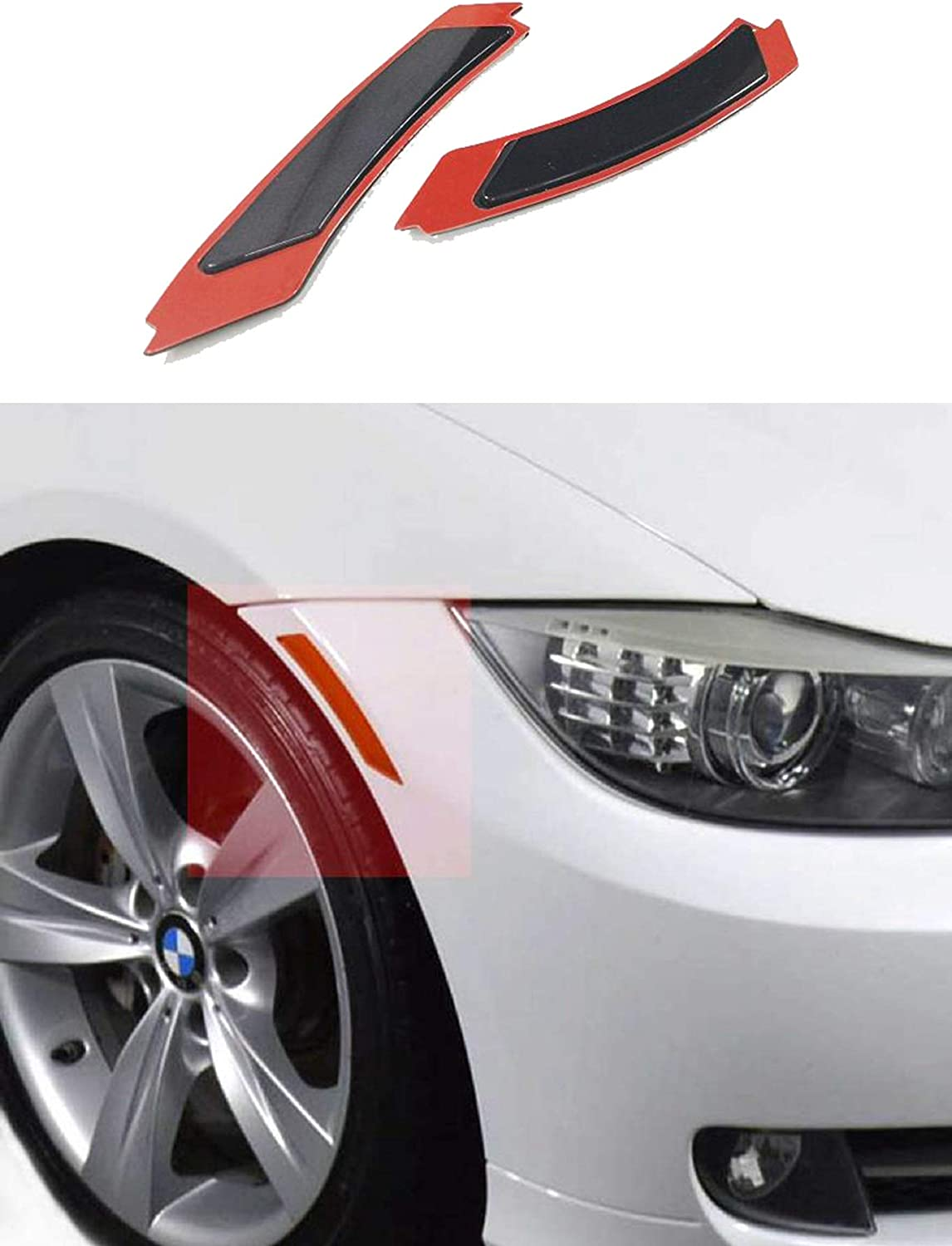Spec-D Tuning For BMW E92 3-Series Black Side Marker Lamp Front Bumper Reflector Lights Left+Right