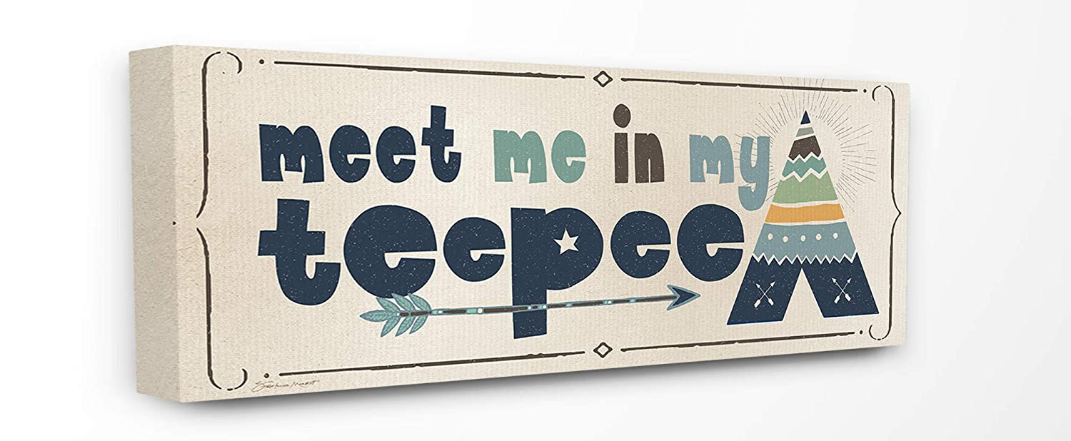 The Kids Room by Stupell Meet Me in My Teepee Navy Sign with Arrow Wall Plaque Art 7 x 17 Multi-Color