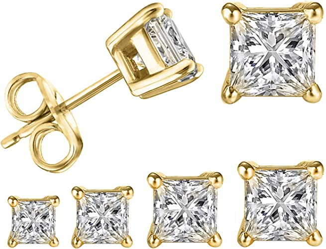 PAIR 3mm 8mm 925 Sterling Silver 18K Gold Plated Square Prong Set CZ Earrings