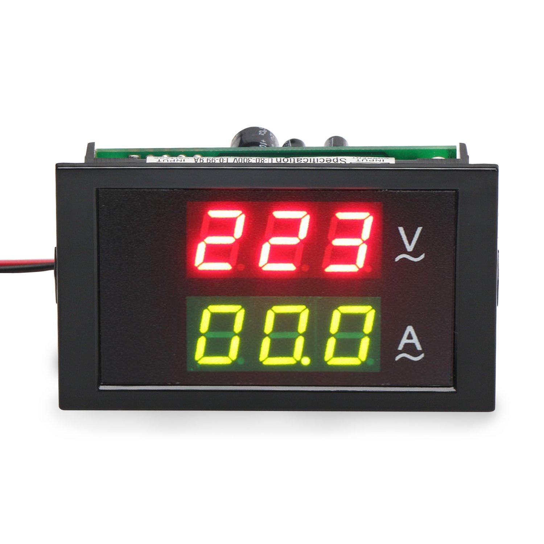 DROK® Din Rail Multi-functional Digital Display AC 80-300V 100A Current Voltage Power Ammeter Voltmeter Electric energy Display Meter DEOK 200082_EU