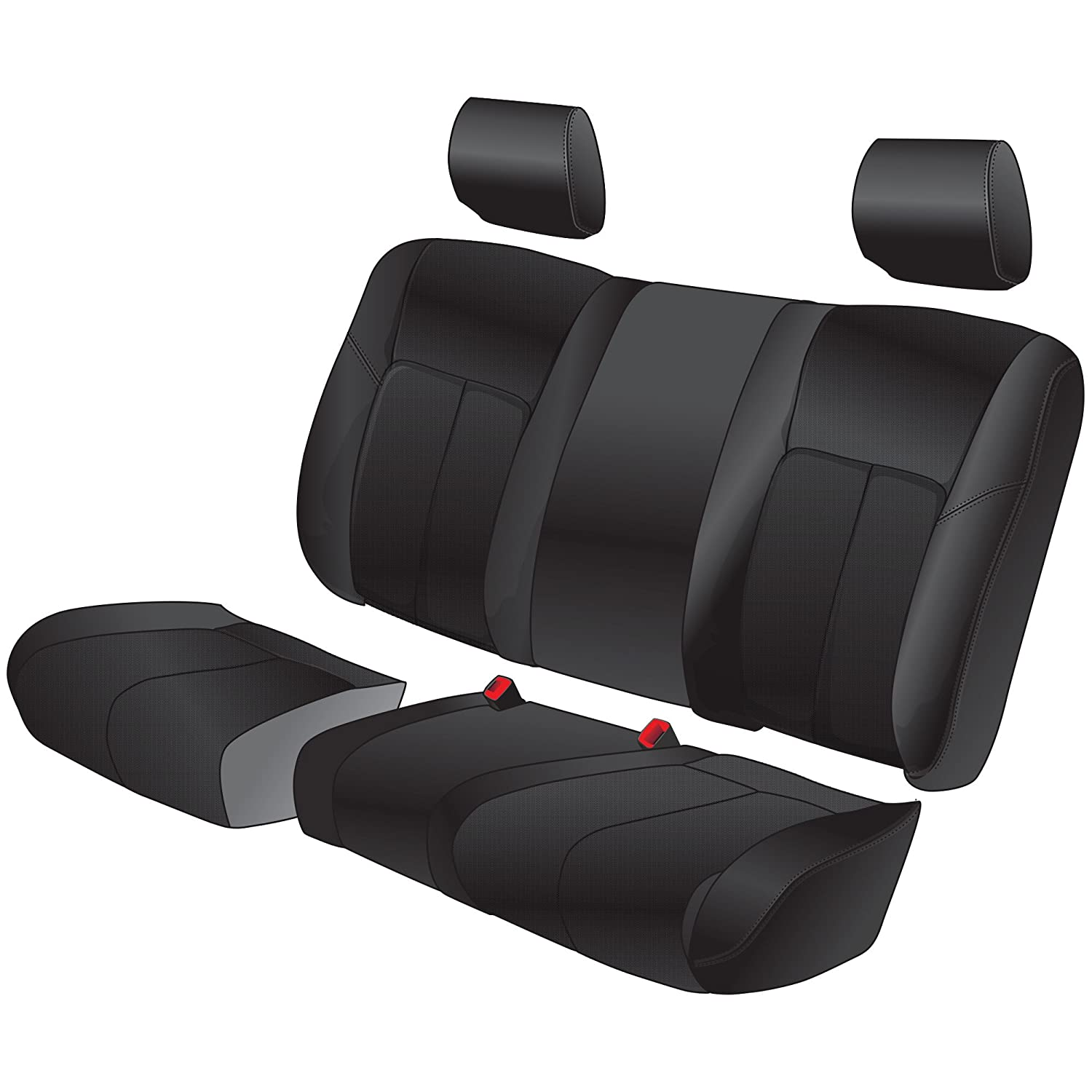 Clazzio 719411blk Black Leather Front Row Seat Cover for Ford F150 Super Crew