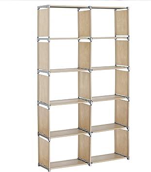 EUGAD Estantería Almacenamiento, estantes para libros, 2 x 5 niveles más Espacio Estantería de almacenaje estante, color natural, aprox. 99 x 30 x 177 cm, rgb9263nt: Amazon.es: Hogar
