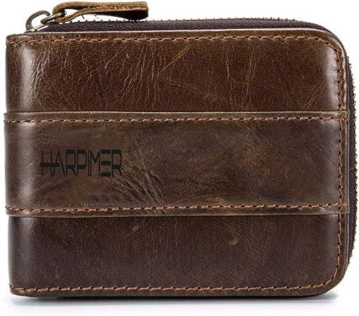 Mens Brown Leather RFID Wallet Radio Signal Scanner Blocking Secure Wallet Purse