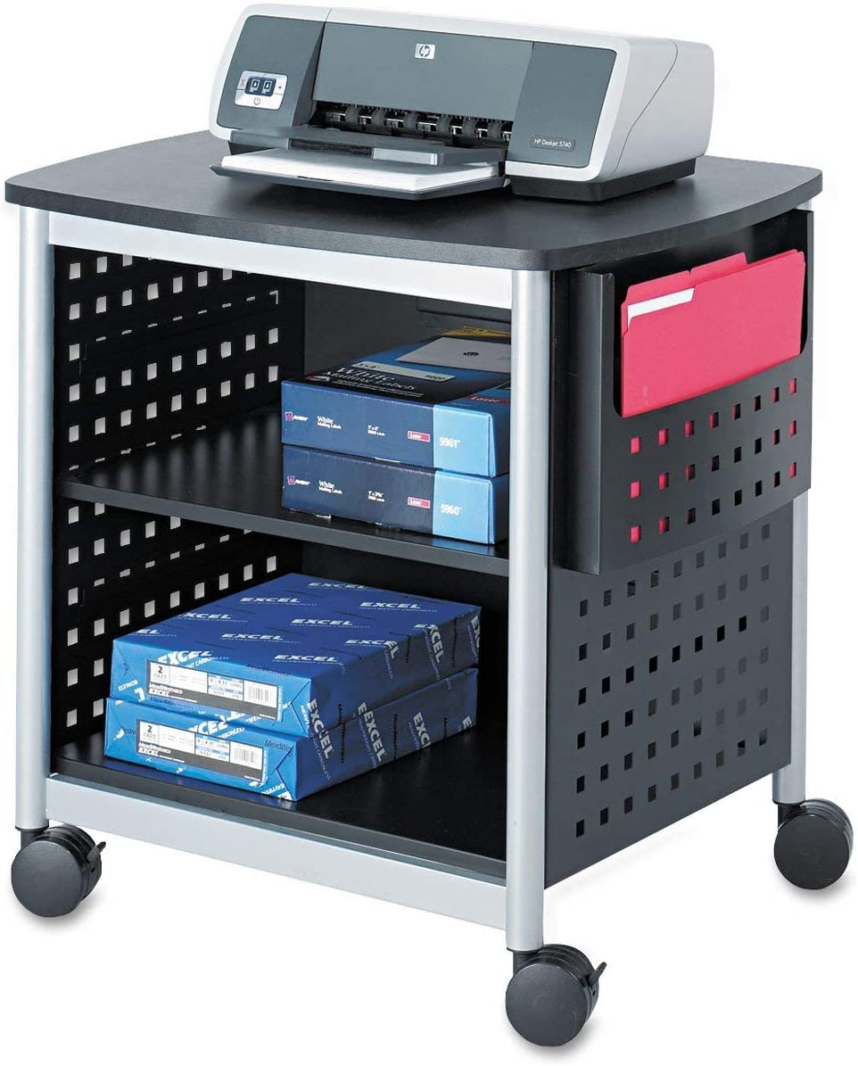 Safco Products Scoot Desk Side Printer Stand 1856BL, Black, 200 lbs. Capacity, Swivel Wheels, Silver Powder Coat Finish, Contemporary Design : Office Products