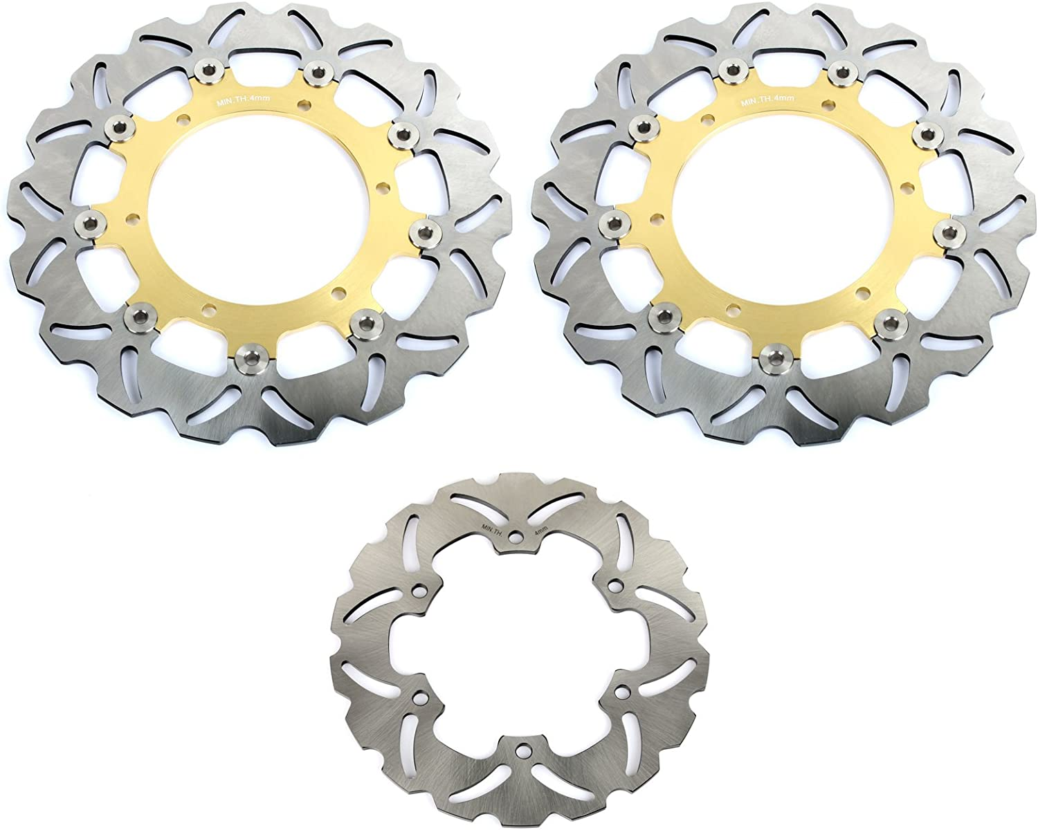 TARAZON Front Rear Brake Rotors Discs for Yamaha YZF R1 2002-2003 YZF R6 1999-2002