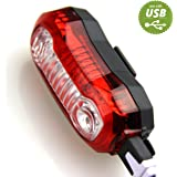 Sunspeed LED Rear Bike Light - USB Rechargeable & Ultra Bright - 5 Light Modes - Easy Install and Quick Release
