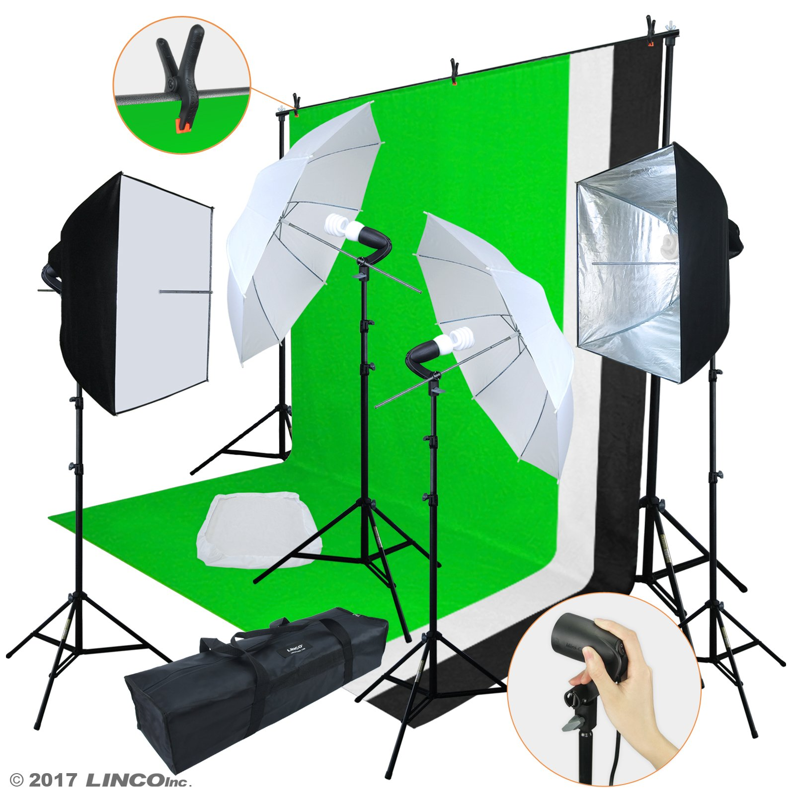 Linco Lincostore Photo Video Studio Light Kit AM169 - Including 3 Color Backdrops (Black/White/Green) Background Screen by Linco