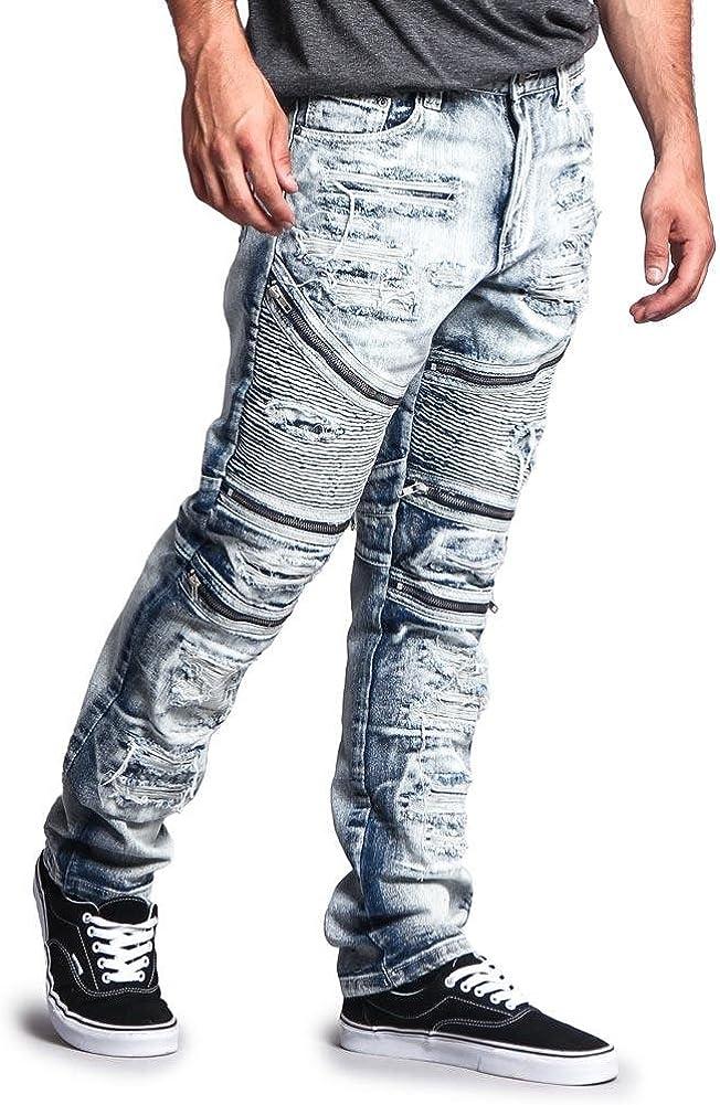 ARTFFEL Mens Slim Fit Letters Print Low Waist Stretch Knit Casual Ripped Denim Pants