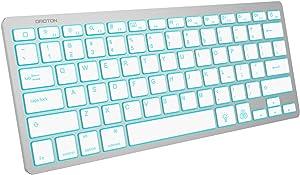 OMOTON Bluetooth Keyboard for iPad, 7-Color Backlit Rechargeable Portable Wireless Keyboard for iPad 8th/7th Generation 10.2, iPad Pro 12.9/11, iPad Air, iPad Mini, Silver