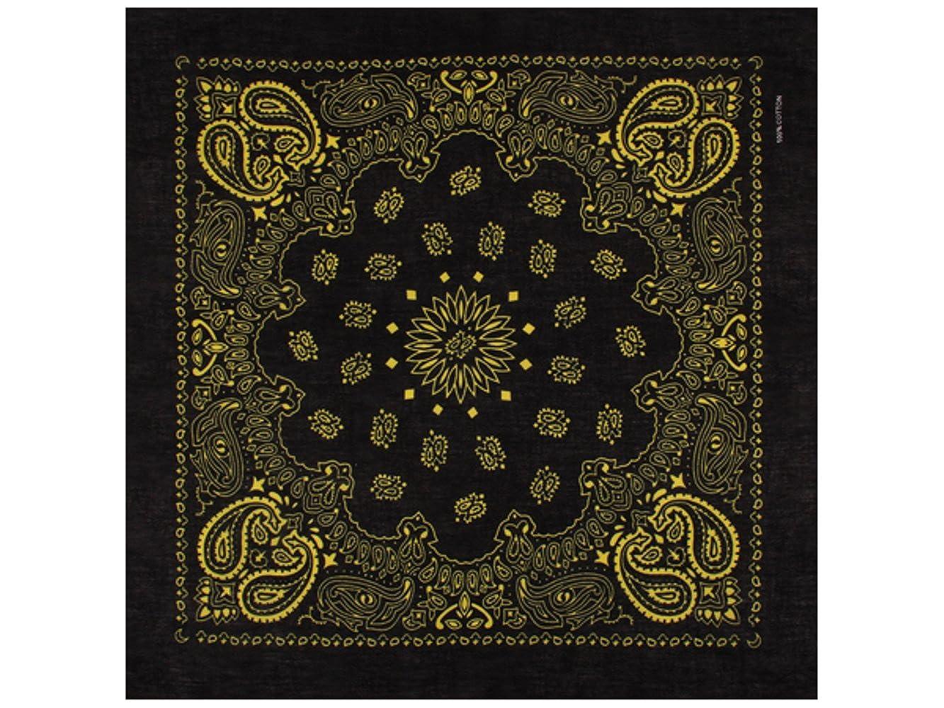 1 x Bandana Tuch Schwarz Gelb 100% Baumwolle Kopftuch Halstuch Schal Sonnenscheinschuhe®
