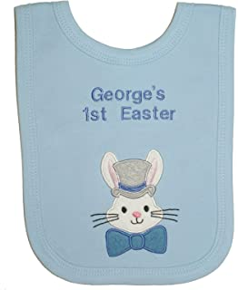 First easter bib blue babies first easter bib easter gift 1st top hat easter bunny personalised bib handmade in the uk with embroidered name negle Gallery