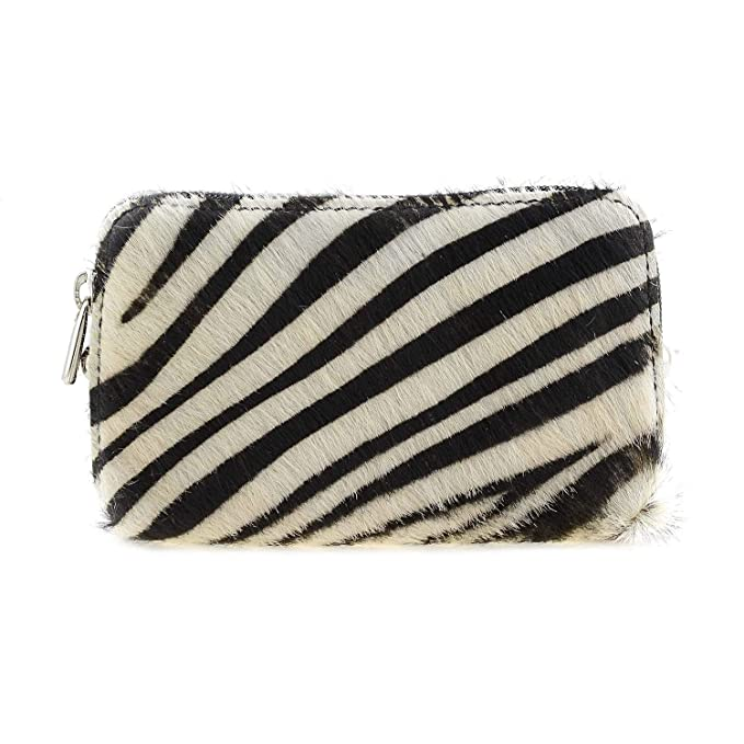 Monedero Piel Estampado Cebra Talla: U Color: Negro: Amazon ...