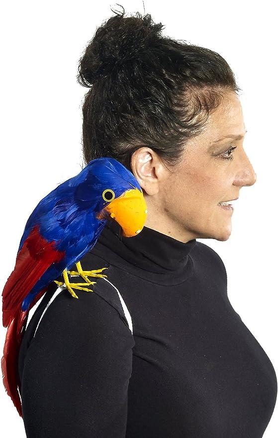 "Stuffed Feather 13/"" Parrot On Wrist Pirate Hawaiian Fancy Dress Costume Accessor"