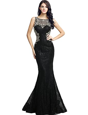 ca18af5914 Belle House Sheer Neck Beaded Evening Dresses for Women Formal Mermiad Sexy  Black Lace Ball Gown
