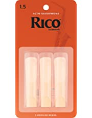 Rico RJA0315 Reeds for Alto Sax with 1.5 Strength, pack of 3, Black