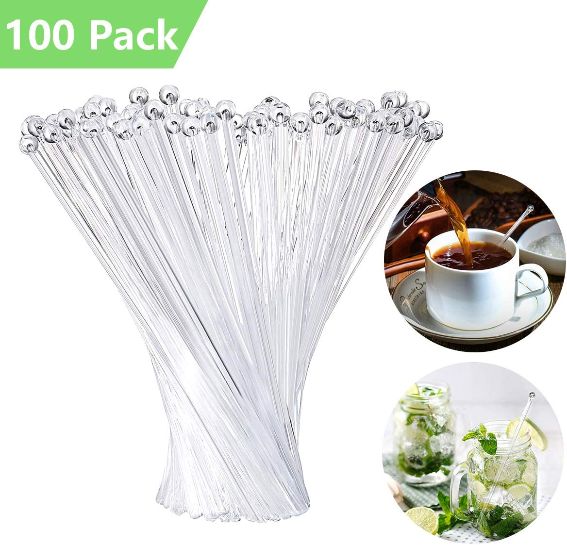 Swizzle Sticks Plastic Round Top Stir Stirrers Reusable or Disposable for Coffee Beverage Cocktail Tea 7.4 Inch