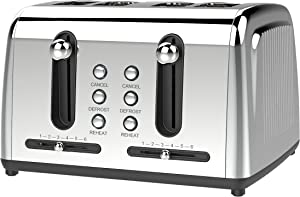Brentwood Appliances BTWTS446S Extra Wide Slot 4-Slice Toaster, One Size, Silver