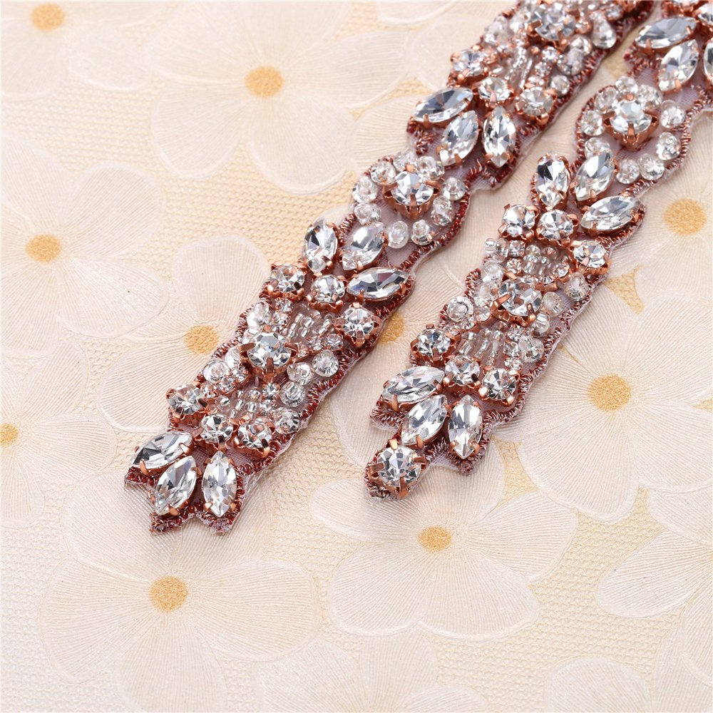Rose Gold Wedding Crystal Sash Applique Sew Iron on Rhinestone Bridal Dress Belt Applique Sparkly for Bridesmaid Gown Women Prom Formal Dress Clothes Embellishments by XINFANGXIU (Image #5)