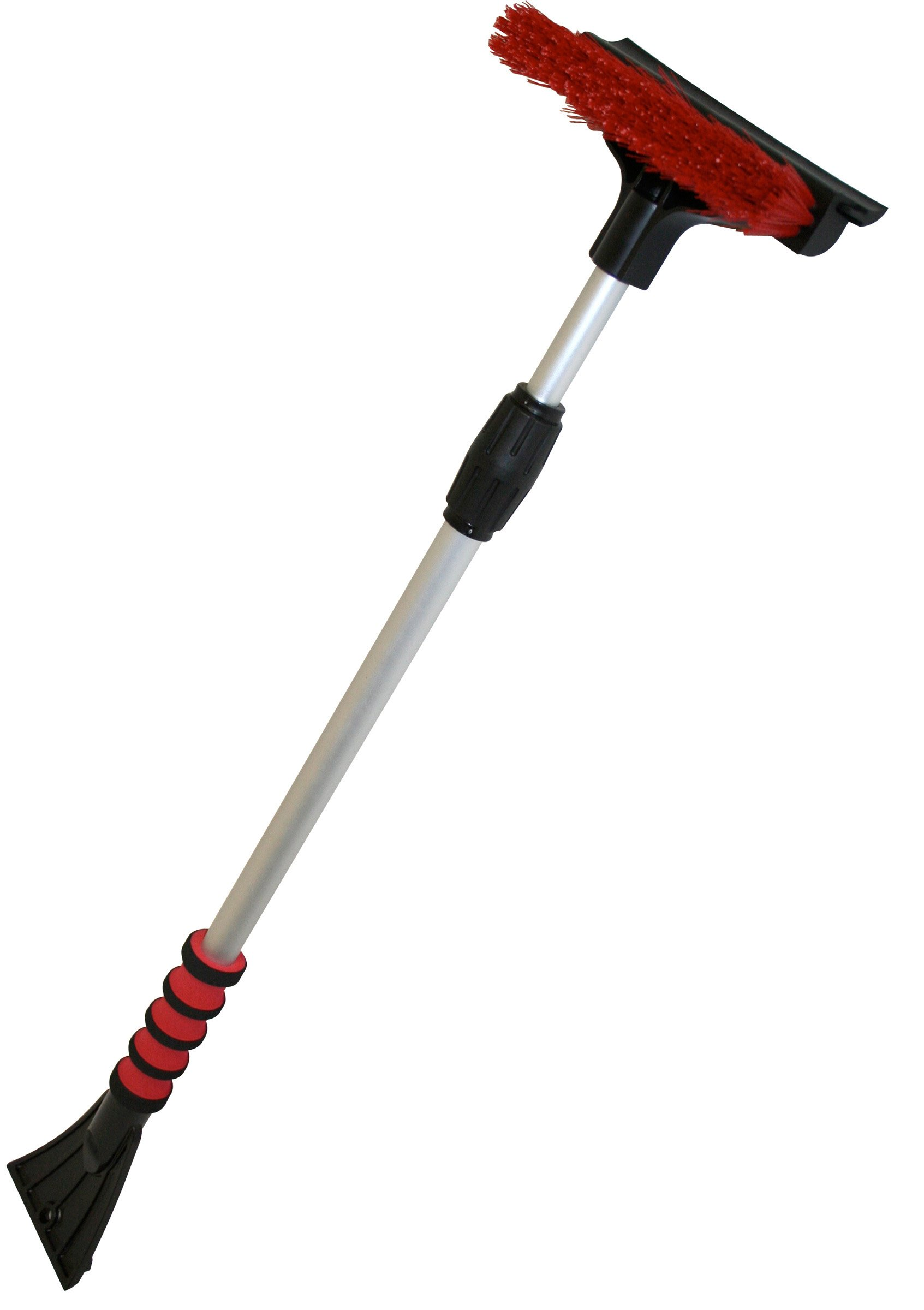 Mallory 581-E Telescoping 48'' Sport Utility Snow Broom with Brush and Squeegee Head and Integrated Ice Scraper (Colors may vary)