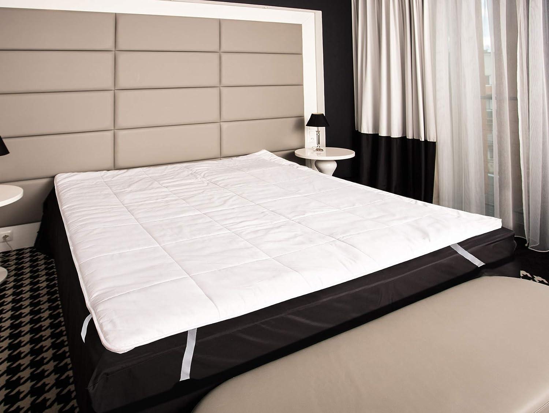 Mayaadi-Home Matratzenauflage Baumwolle befüllt mit 100% Merino-Schafschurwolle Natur-Topper 90x200cm Weiß