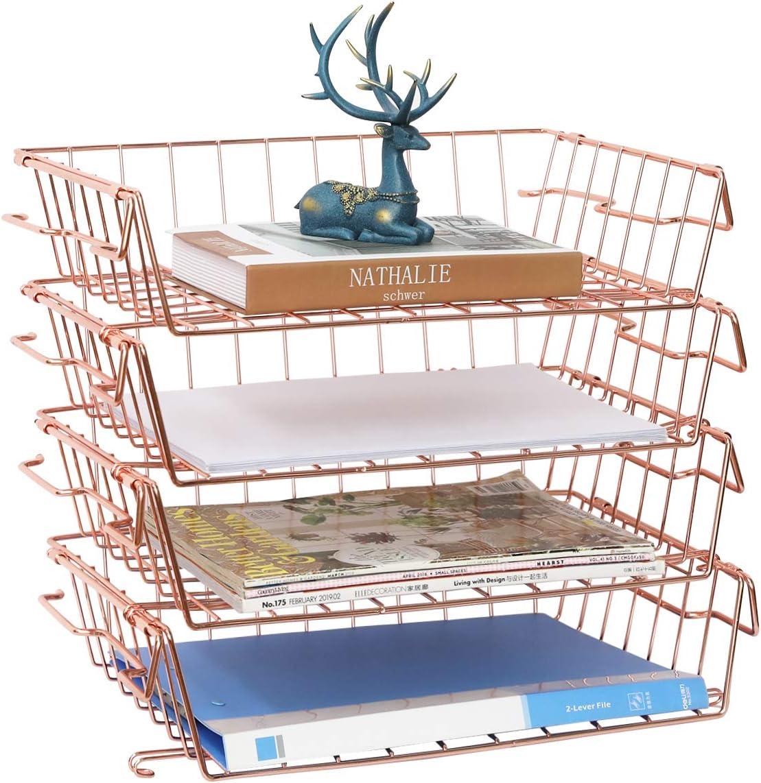 Stackable Letter Trays, 4 Tier Multifunctional Desktop Organizer & Underdesk Hanging Organizer, Metal Paper Tray Desk Organizer for Office,Home,School,Stores,Rose Gold