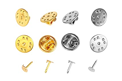 4a054761ad0 Officepal Butterfly Clutch Pin Backs & Tie Tacks – 70 Silver & 70 Gold  Blank Metal Replacement Lapel Fastener Clasps with Pins – 280pc Lot DIY  Accessories ...