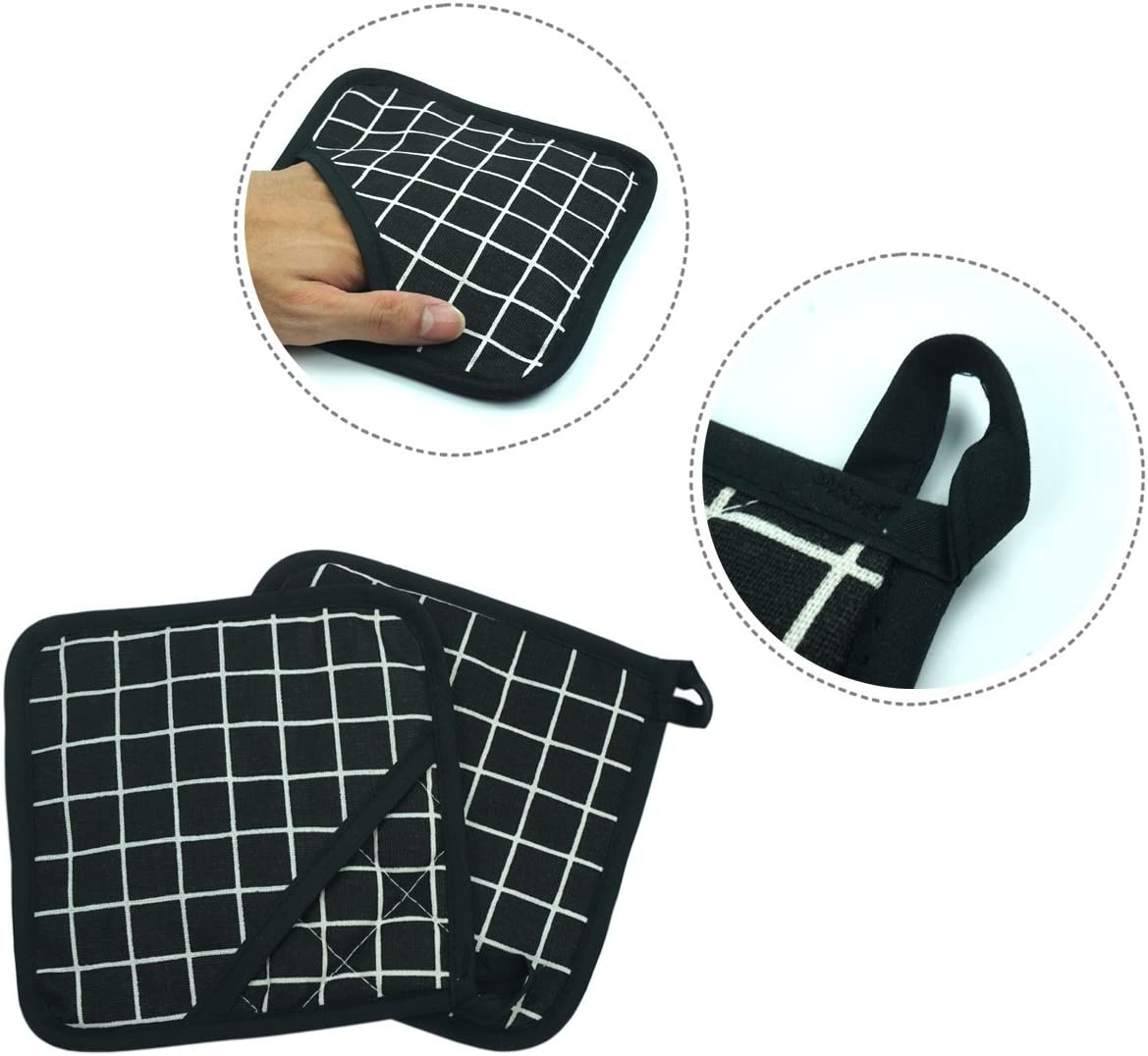 Barbecue Potholder 1 Pair Dualeco Heat Resistant Silicone Oven Gloves Black Non-Slip Cotton Quilted Kitchen Gloves Grilling Mitts for Cooking Baking