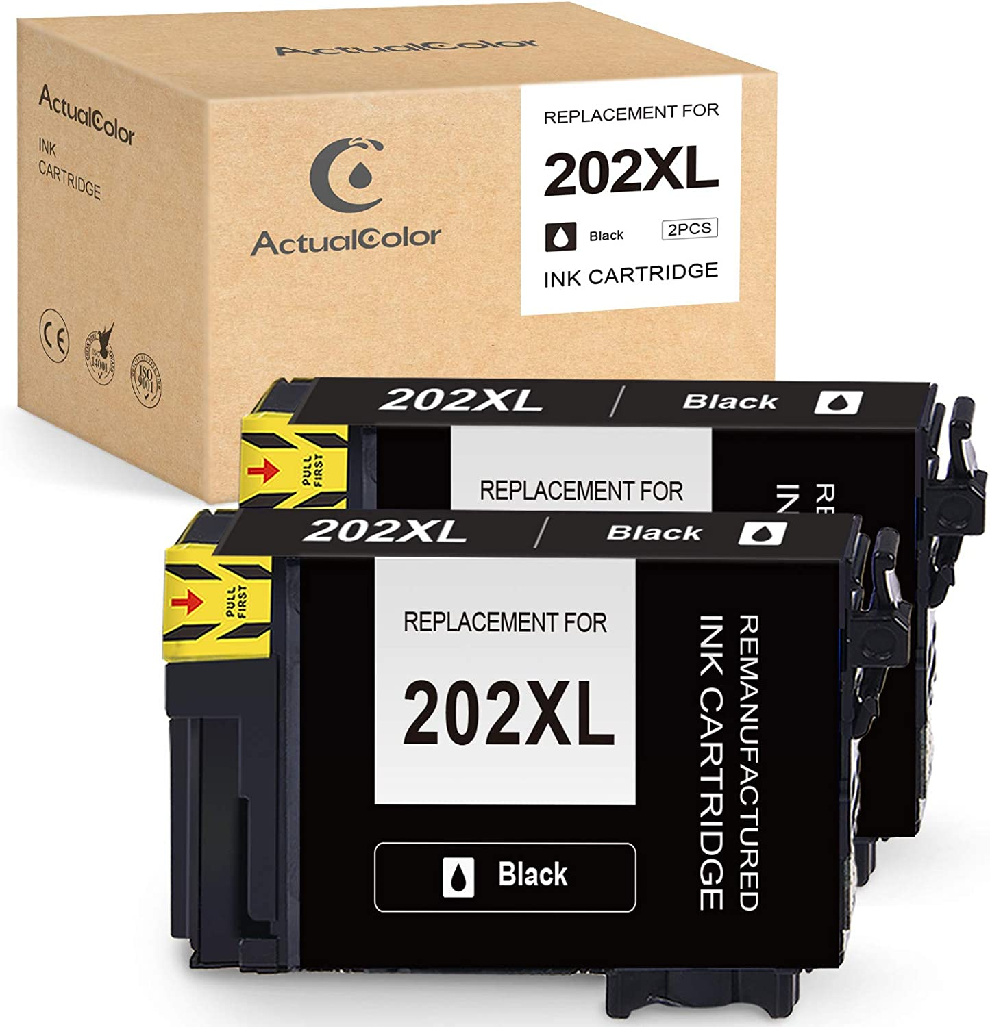 ActualColor C Remanufactured Ink Cartridge Replacement for Epson 202 XL 202XL T202XL T202XL120 for Workforce WF-2860 Expression Home XP-5100 Printer (2 Black)