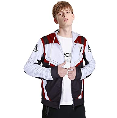 36cc58dac3f Amazon.com  Avengers Endgame Costume Adult Quantum Realm Hoodie Advanced  Tech Sweatshirt Jacket Cosplay for Kid  Clothing